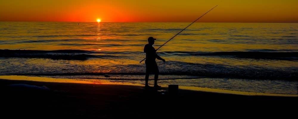 Surf fishing at night